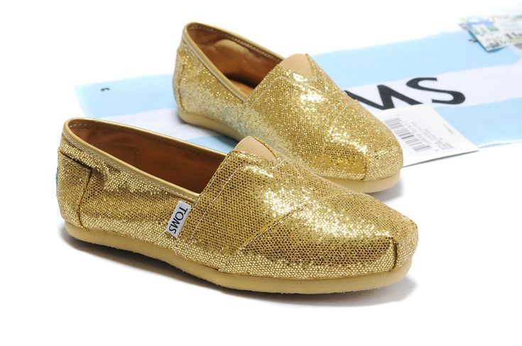 Women Toms Classic Shoes Glitter Gold