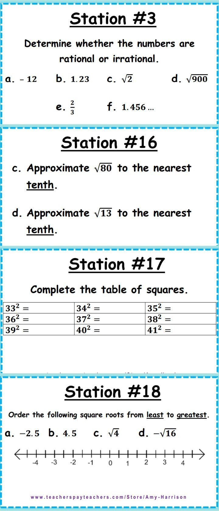 Estimating Irrational Numbers Worksheet Irrational And Rational Numbers Task Cards 8 Ns A 1 8 Ns In 2020 Rational Numbers 8th Grade Math Middle School Math Teacher