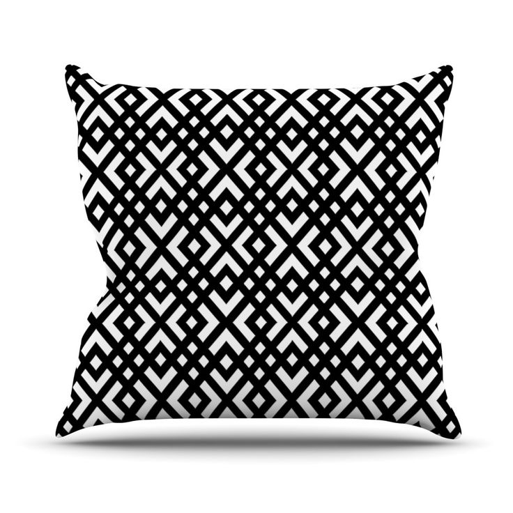 Kess InHouse Trebam Dijagonala Indoor / Outdoor Throw Pillow   The Kess  InHouse Trebam Dijagonala Indoor / Outdoor Throw Pillow Sports A Black And  White ... Images
