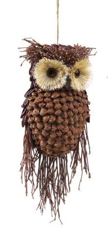 "Pinecone animal ornaments | 13"" Modern Lodge Pine Cone and Twig Owl Christmas Ornament Decoration"