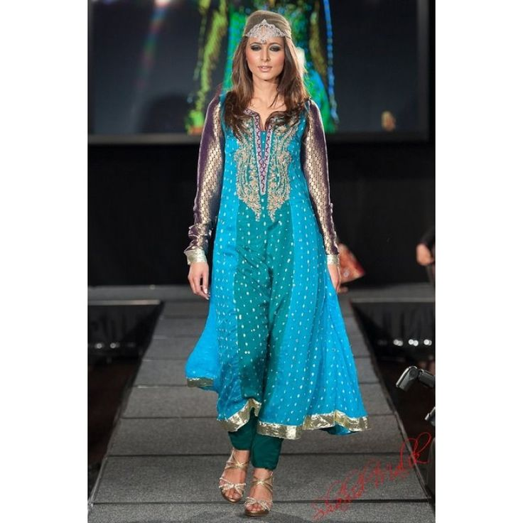 Light Blue/Green/Purple Crinkle Chiffon Party Frock Contact: (702) 751-3523 Email: info@pakrobe.com Skype: PakRobe