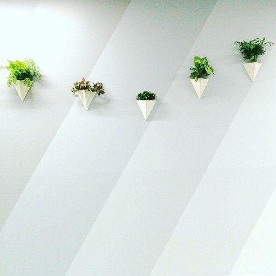 Pyramid Wall Planter Porcelain Geometric Minimal by MuddyHeart