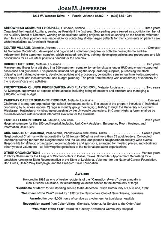 hospital volunteer resume example - Resume Builder Online Free