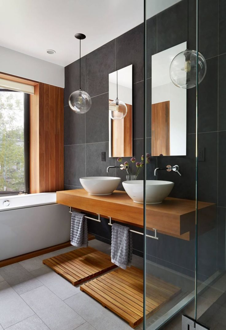 Wood in bathroom - nice - use wood tile as feature wall?