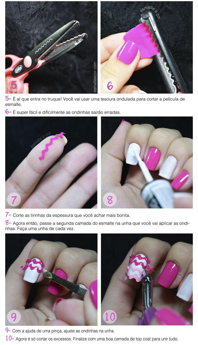 tutorial de nail art facil para fazer com esmalte rosa