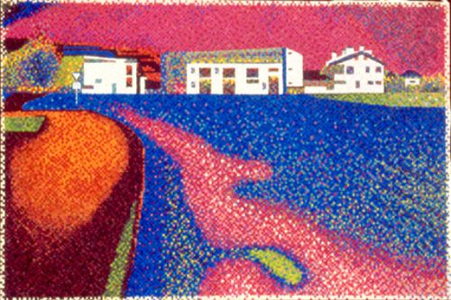 "#finearts, ""impression landscape, with buildings"", 07. 2004, #pixelism - ca. 33.700 painted pixels, acrylic on canvas, 90 x 60 cm, ■ = 4 x 4 mm, 34.43"" x 23.62"", ■ = 0.16"" x 0.16""."