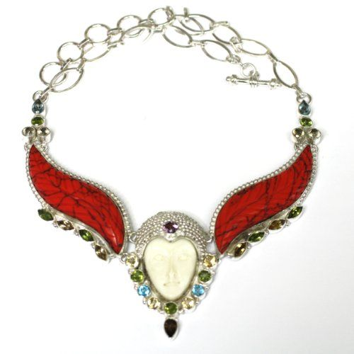 #Huge Artisan Hand Carved #Red #Turquoise and Face #Bone Silver #Necklace http://www.mysharedpage.com/huge-artisan-hand-carved-red-turquoise-and-face-bone-silver-necklace $99.00