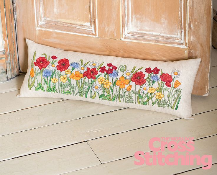 Back to nature - wildflower cross stitch. A pretty AND practical make for your home... enjoy this pattern and follow our simple step-by-step guide to making the draught excluder! Only in issue 218 of The World of Cross Stitching magazine