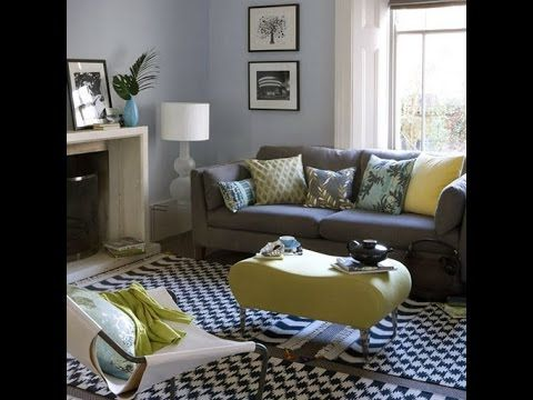 Grey, Blue And Yellow Living Room Design Part 52