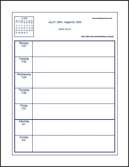 graphical weekly planner