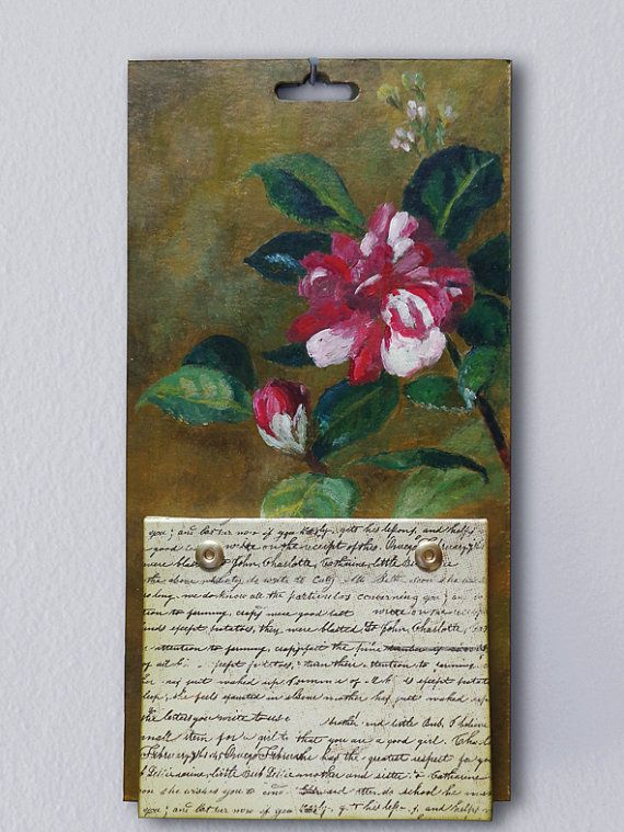Hanging notepad on chipboard with flower painting ready to