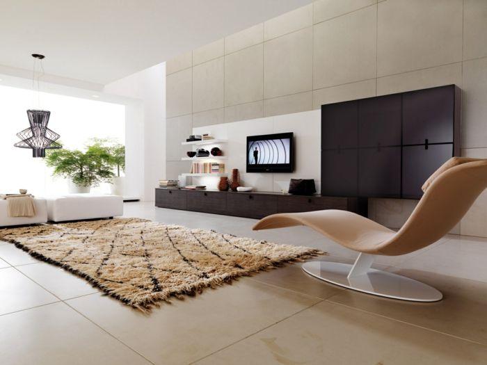 Bodenbelag Wohnzimmer Große Bodenfliesen Teppich Sessel Wohnwand