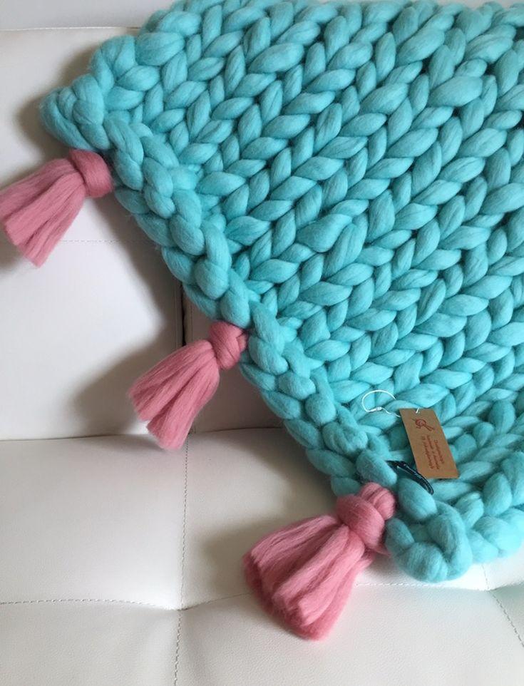 Merino chunky knit wool, small blanket / throw. Taking orders