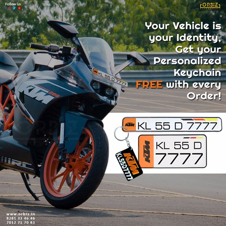 Get your own vehicle number as your key chain. Make your friends envy!!  Shop Now - www.orbiz.in  #Orbiz #OrbizAutomotivez #BikeNumberPlates #HighQualityNumberPlates #Free #KeyChain #KTM #Bikes