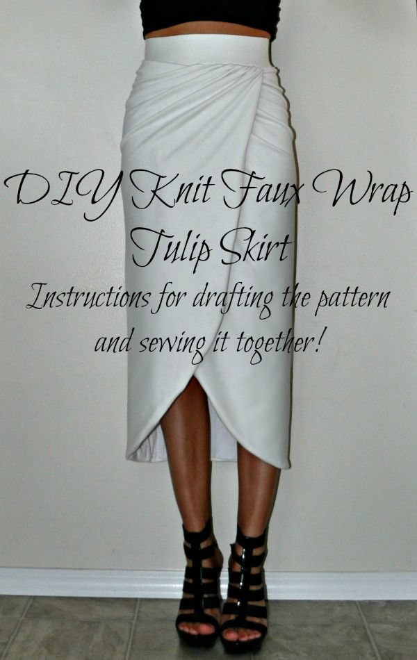 Tasha Delrae: DIY Knit Faux Wrap Tulip Skirt  I would rather have it stop shorter like a mini skirt