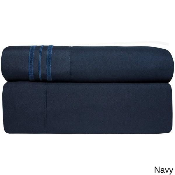 4 Piece Navy Blue California King Bed Sheet Set Fitted Flat Pillowcases