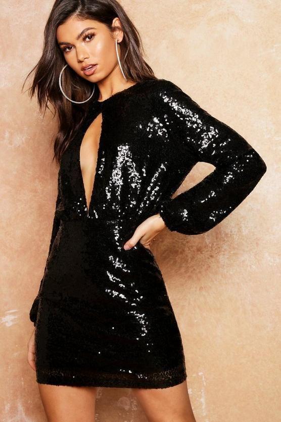 3f9168295409 Sequin Keyhole Long Sleeve Bodycon Dress in 2019   boohoo Holiday ...