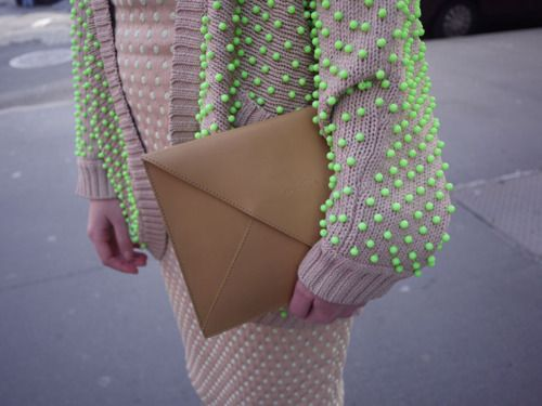 beige + neon: Sweaters, Fashion, Polka Dots, Envelopes, Style, Details, Neon Dots, Neon Green, Beads