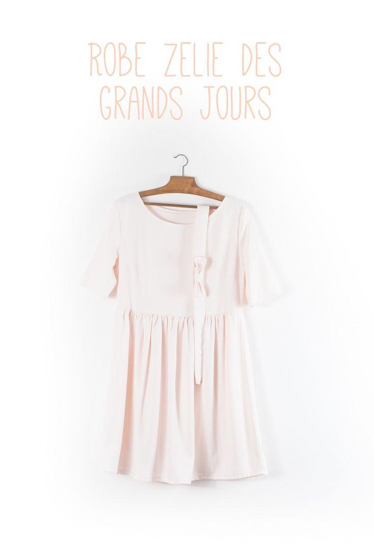 Robe Zélie - Les Fusettes - Tissu rose pâle de chez Sacrés coupons