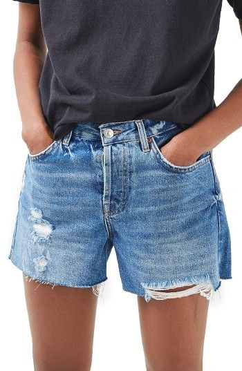 Petite Women's Topshop Ashley Ripped Boyfriend Shorts