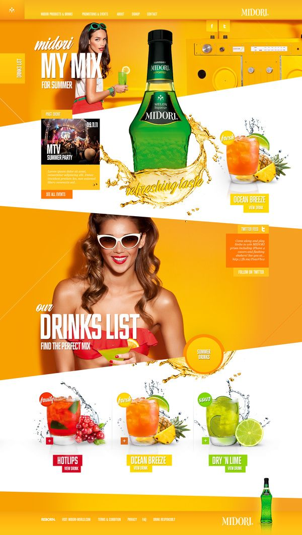 Midori / Garth Sykes / #drink #orange #green #webdesign