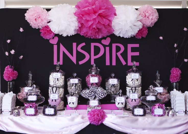 Black, white and fuschia... these are my colors for my party, totally stealing some of these ideas for my candy buffet