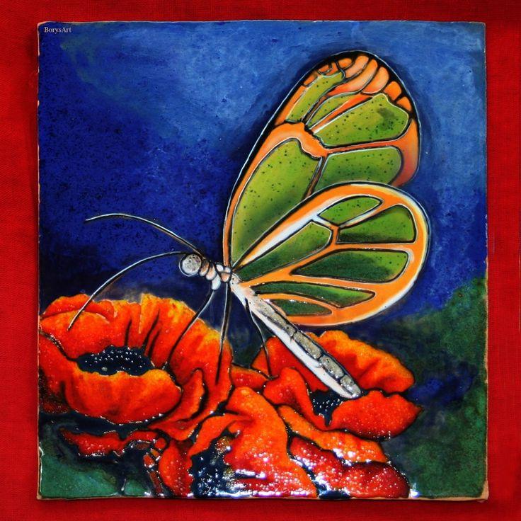 MOTYL obraz ceramiczny, majolika Danuta Rożnowska-Borys BorysArt
