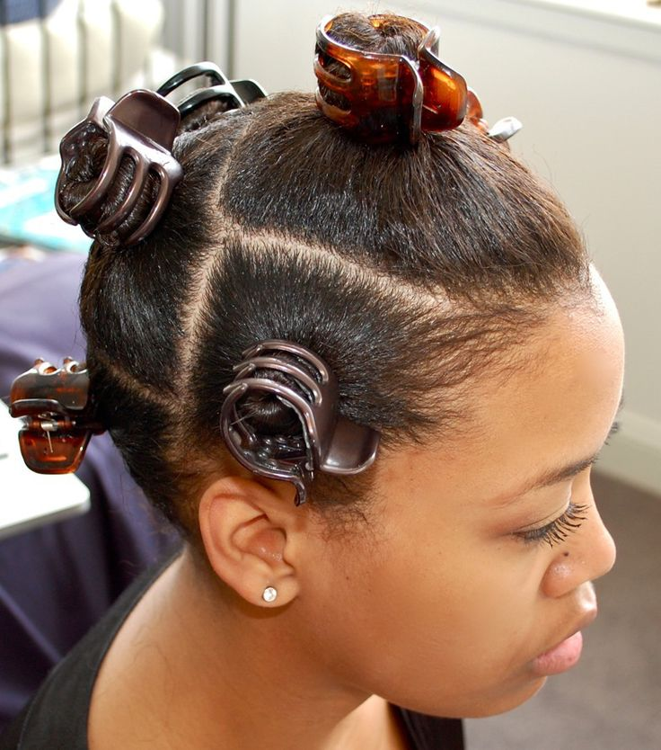 One way to hold those knots in place! Good idea. Bantu knots on relaxed hair