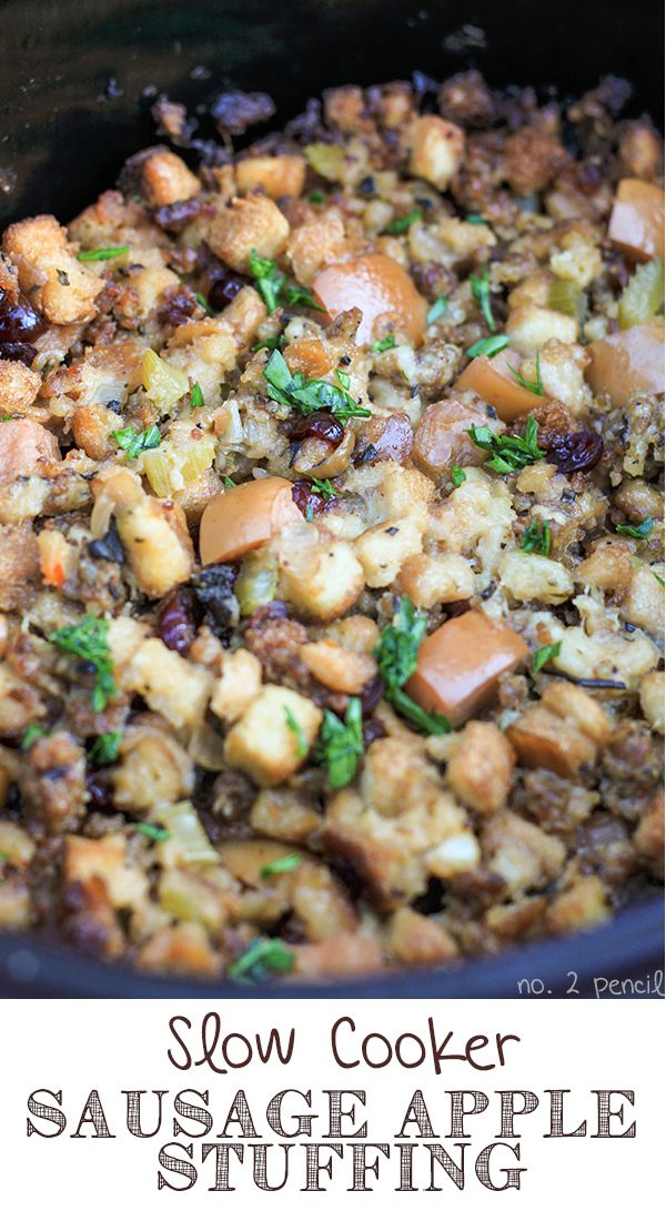 Slow Cooker Stuffing Recipe ~Says: Not only does it free up a spot in your oven, it is out of this world delicious. It's packed with sausage, apples, and tart cranberries. Combine that with the fresh sage, rosemary, and flat leaf parsley, and it is Thanksgiving perfection