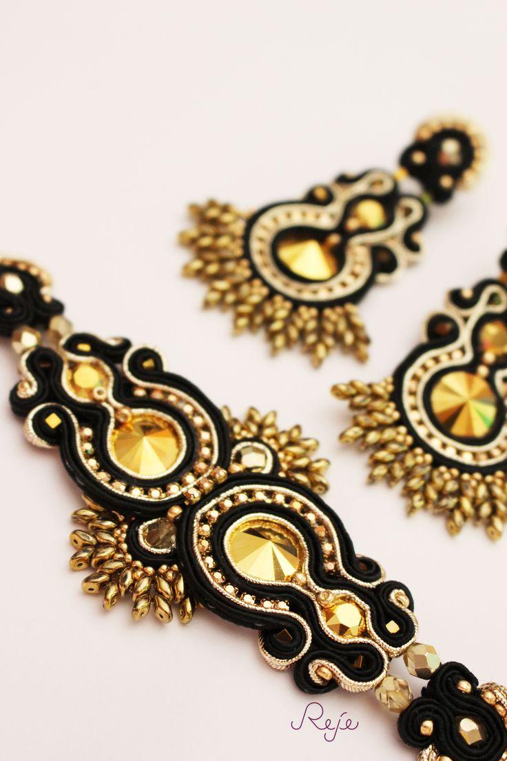 Reje creations soutache set Aurum-bracelet and earrings https://www.facebook.com/rejegioielliinsoutache