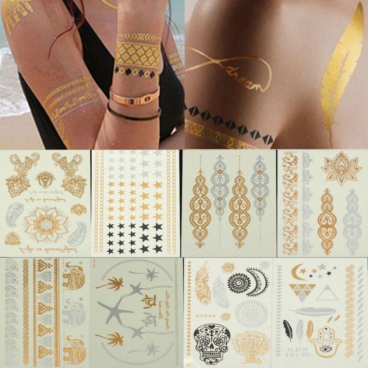 Tatuaggio Temporaneo Collana Bracciale Metal Colori Oro Argento Temporary Tattoo
