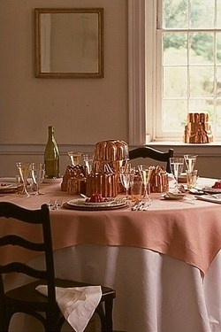 Collecting Copper Molds-  Martha Stewart- Look how the paint matches the hue of the table linen. The copper is within the same color tones as well.  Consider painting the walls, trim and accessories around three color tones for a the perfect color combination.