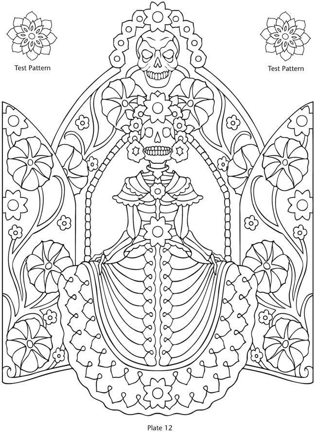 591 besten skull coloring/ Dia de los Muertos Bilder auf