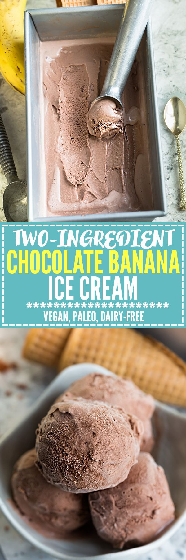 Two-Chocolate Banana Ice Cream makes the perfect healthy, paleo-friendly frozen treat! Best of all, no ice cream maker required!