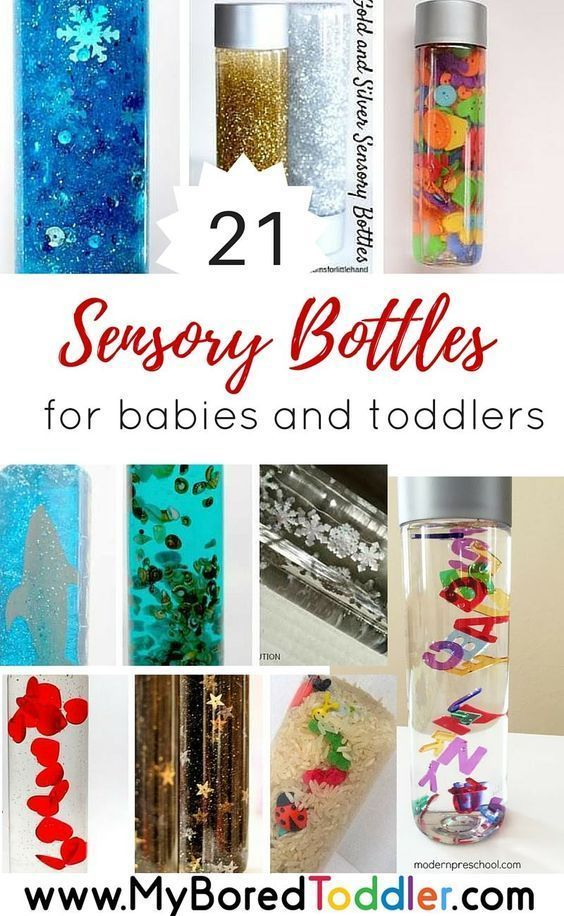 sensory bottles for toddlers and sensory bottles for babies. If you are looking for sensory play ideas for babies or toddlers you'll love these 21 sensory and discover bottle ideas. Nanny | Babysitter | Au Pair | Childcare | Parenting - www.nannyprintables.com