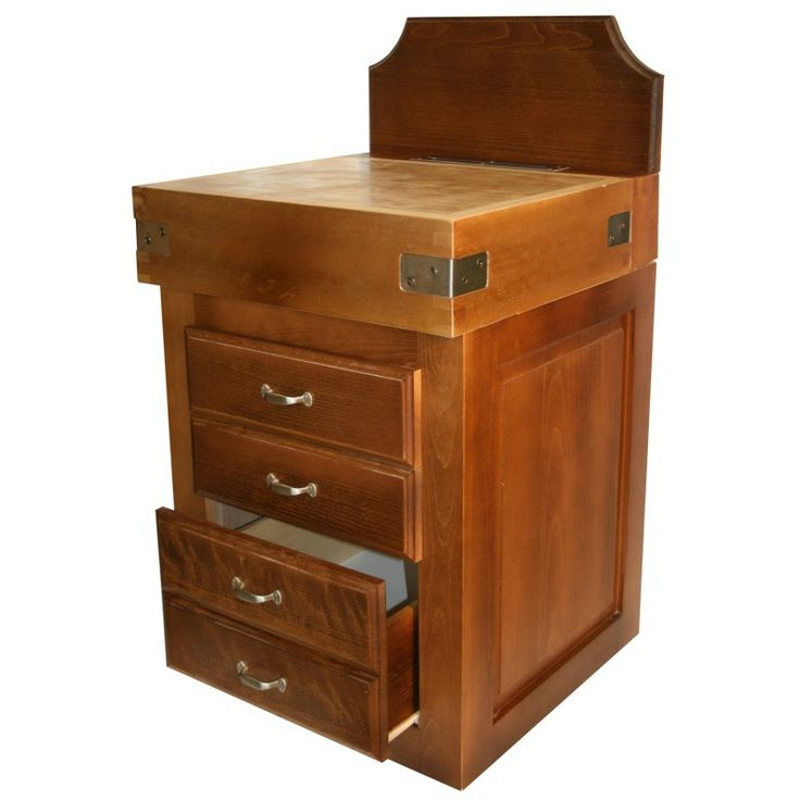 Meuble billot en bois de bout de charme finition patine ancienne pour le h tre et paraffin e - Roulette ancienne pour meuble ...