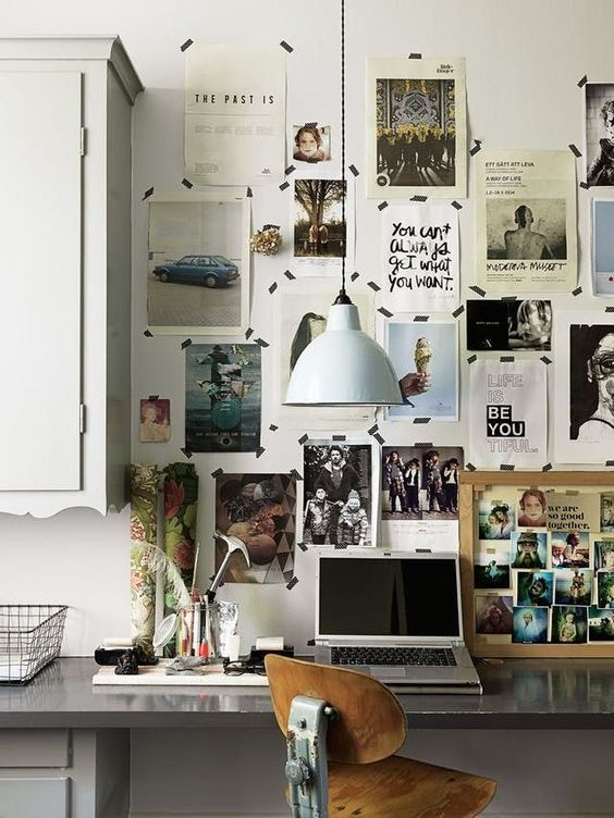Modern Home Office Featuring Polished Concrete Desktop On A Built In And A  Gallery Wall