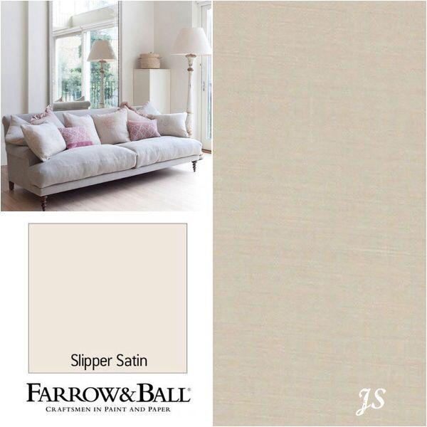 Kate Forman Inspiration by Joanne Sandford - Paint: Slipper Satin ( Farrow & Ball) Sofa: Natural Linen, Cushions: Mix of Feminine Pinks
