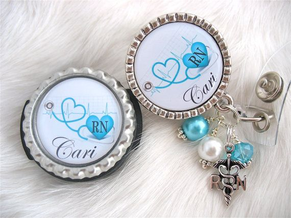 Personalized stethoscope ID & ID Badge Reel - blue, RN, bottlecap