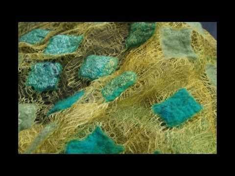 Nuno felted margilan silk shawl - YouTube