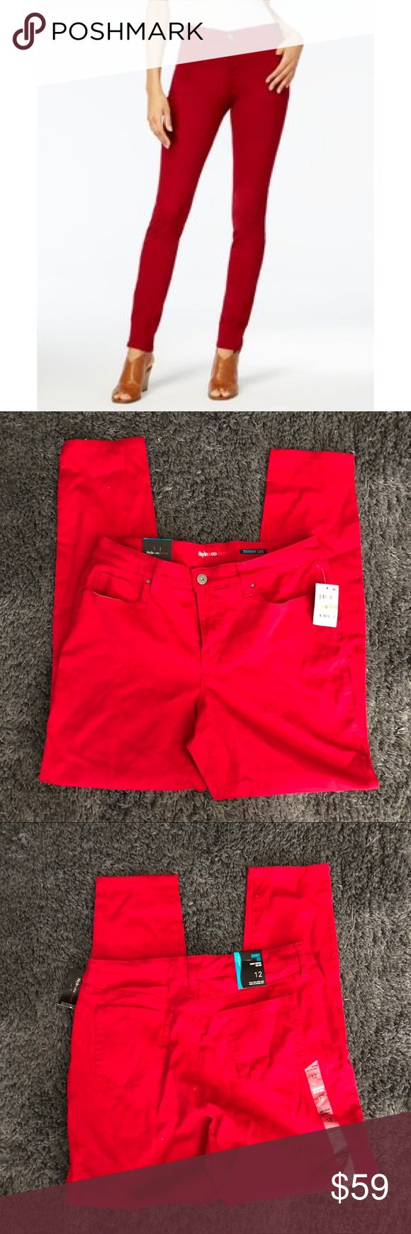 Red skinny jeans Brand: style and co via Macy's 🚫modeling  🚫trades (askers will be ignored) or lowballing  ✅ will consider offers made through BLUE offer button.  LB ✅ great bundle discount Pants Skinny