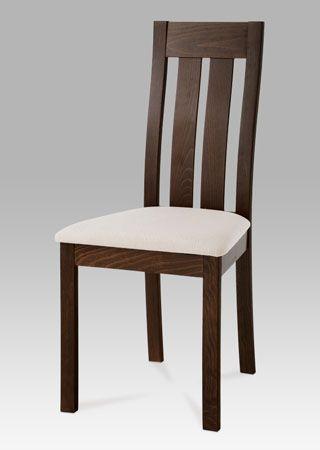 BC-2602 WAL Elegantní jídelní židle vyrobená z masivního dřeva namořená do barvy ořech, potah je v béžové barvě. Židle má nosnost do 90 kg. Židle je ideálním doplňkem do kuchyně či jídelny, je ale také vhodná do kanceláří, čekáren atd.