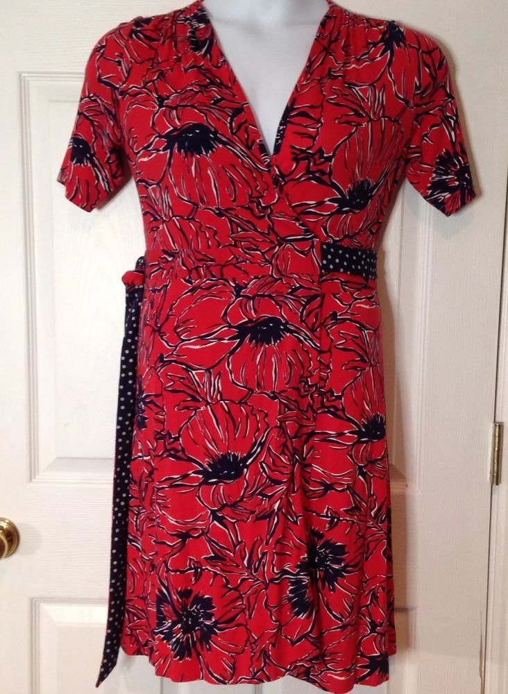 3aacf244308c7e Lilly Pulitzer Adalie Knit Wrap Dress Pink Tomato Print Red Floral Size S  poppy | eBay