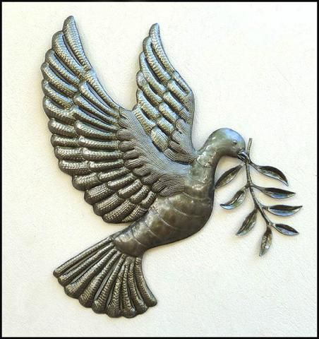 "Dove and Olive Branch Metal Wall Art - Haitian Steel Drum Design Wall Hanging - 17"" x 18"""