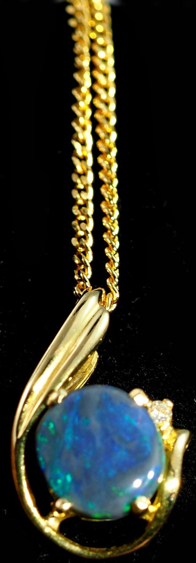 Gold Black Opal Pendants 6 x 4 x 1.5mm 0.85 carats Auction #651922 Opal Auctions