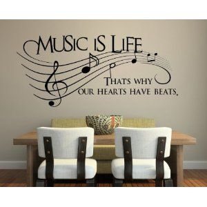 Music is Life.. That's why our hearts have beats Vinyl Decal Sticker Art: Amazon.ca: Home  Kitchen
