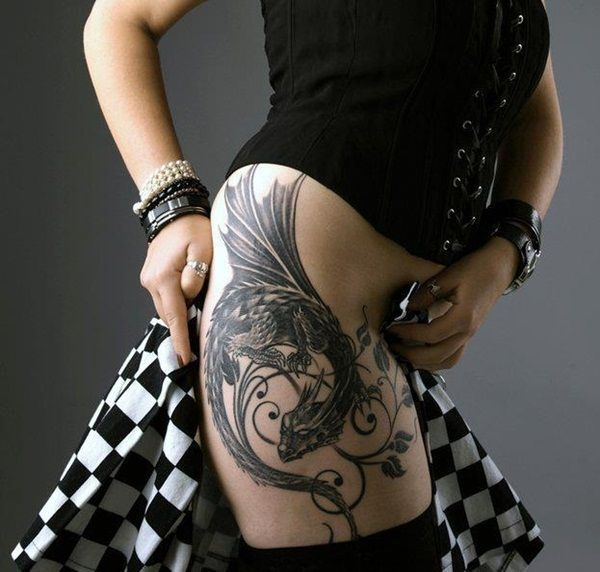 Sexy Thigh Tattoo Designs and Ideas for Girls35