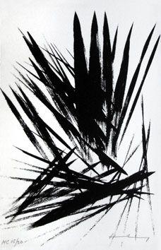 L158, lithographie signée, estampe, Hans Hartung, oeuvre originale