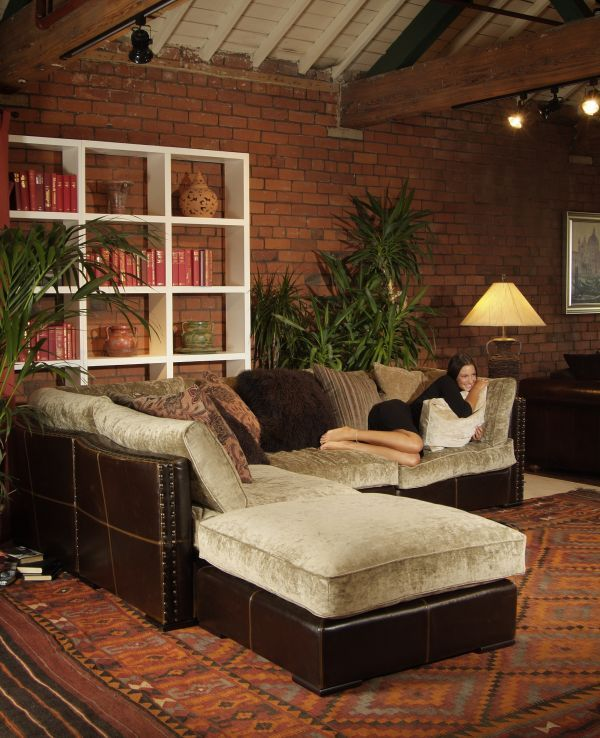 Mixed Leather And Fabric Sectional Dream Home Pinterest Fabrics Living Rooms Room