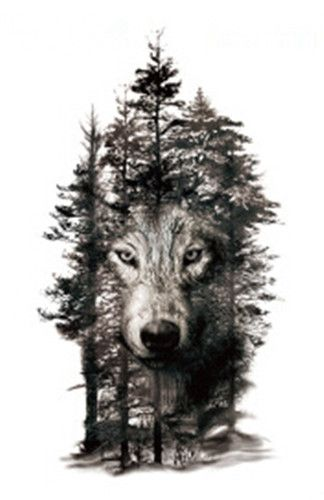 Waterproof Temporary Fake Tattoo Stickers Grey Forest Wolf Animals Large Design Body Art Make Up Tools #Affiliate